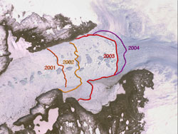 Image showing the movement of the glacier from 2001 to 2004.