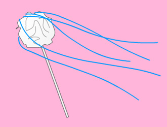 Drawing of a straw with a paper wad on top and streamers out to the side
