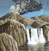 Precambrian time  included almost all of Earth's first 4 billion years. The crust, the  atmosphere, and the oceans were formed, and the simplest kinds of life  appeared.