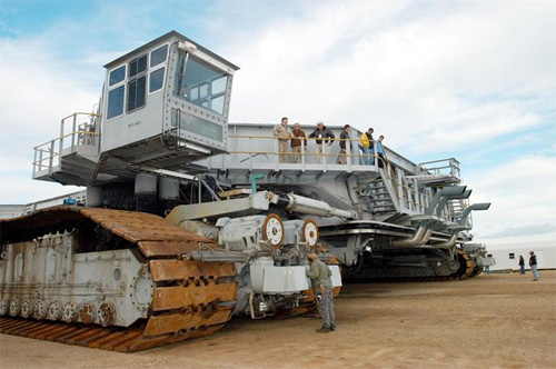 Crawler transporter testing its new shoes