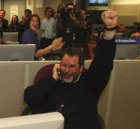 Rob Manning celebrates first pictures from Spirit. NASA Photo/Bill Ingalls
