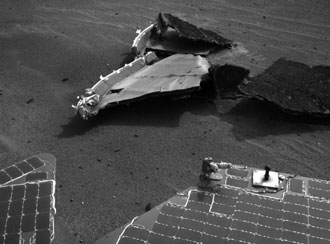 Opportunity view of its heat shield