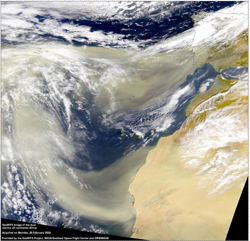 Satellite image of dust storms taken by SeaWiFS in February 2000.