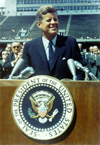 President Kennedy at Rice University in 1962