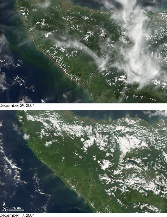 Satellite images of Aceh, Sumatra before and after the earthquake.