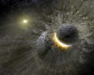 artist concept illustrates how a massive collision of objects smashed together to create the dust ri
