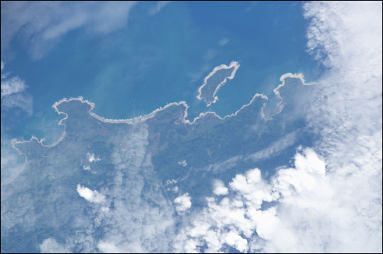 ISS010-E-12727: The coast of Pulau Simeulue with the small island of Lekon