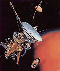 The Cassini probe, launched in 1997, began orbiting Saturn in 2004. Cassini was designed to study Saturn, its rings, and its moons and to drop a probe called Huygens into the atmosphere of the moon Titan.