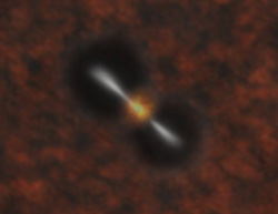 An artist's depiction of twin jets of matter shooting out from a black hole.