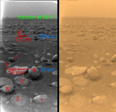 Small rocks, possibly made of water ice, at the Huygens landing site. Left panel shows black and white image, the right panel shows, approximately, the true color of the scene.