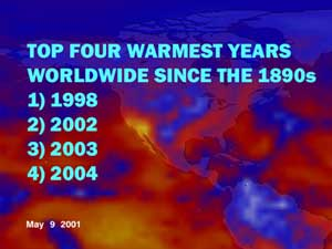 Image showing 2004 as the fourth warmest year around the world, since the late 1800s, according to NASA scientists.