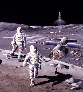 Astronauts on the Moon, an artist's concept.