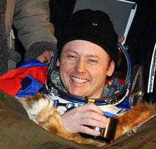 Astronaut Mike Fincke after the successful landing in the Soyuz spacecraft.