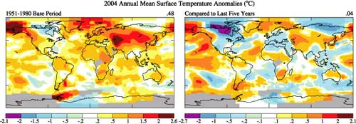 These two maps show the difference in temperatures between the baseline of 1951 to 1980 and the last five years.