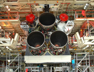 Space Shuttle Main Engines installed on Discovery