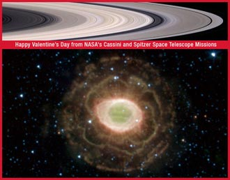 valentine card showing Saturn's rings and Spitzer's flower-like image of the Ring Nebula