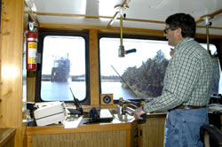 Capt. Rodrick 'Rocky' Pullman of the NASA tugboat Clermont II
