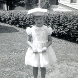 Eileen Collins is pictured here at her kindergarten graduation