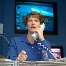 STS-114 Commander Eileen M. Collins observes training activities of her crewmates