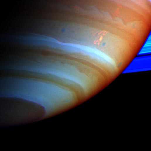 large, bright and complex convective storm in Saturn's southern hemisphere