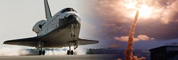 Image of Space Shuttle launching and landing at Kennedy Space Center