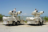 Technicians deploy a pair of tracking cameras in Florida.
