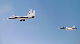 F-15B and F-18 chase aircraft in flight
