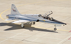 T-38 is taxied by pilot Gordon Fullerton.
