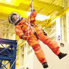 Astronaut Wendy Lawrence in a training session