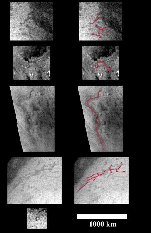 Cuatro pares de vistas de la región polar sur de Titán, a la derecha con los rios de metano y las quebradas destacadas.