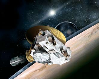 Artist concept of the New Horizons spacecraft on its mission to Pluto.