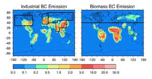 Graph showing industrial and biomass black carbon emissions with boxed areas showing regions assumed in the model experiments.