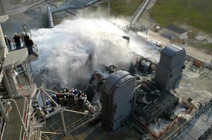 Water is released onto the Mobile Launcher Platform (MLP).