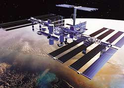 The International Space Station will function as an observatory, laboratory, and workshop. Astronauts and cosmonauts will live and work in cylindrical modules, and solar panels will furnish electric power.