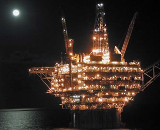 Pictured is a large oil rig using sensor technology in the Gulf of Mexico.