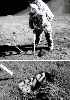 An Apollo 17 astronaut digs a trench to study the mechanical behavior of moondust.