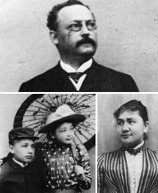 Einstein's family: Albert and sister Maja (bottom left), father Hermann (top), and mother Pauline (bottom right).