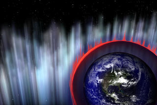Artist's concept of gamma-rays hitting Earth's atmosphere