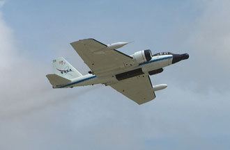 A NASA WB-57 jet in flight