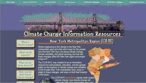 Screenshot of a new website provides scientific answers to basic questions about climate change, and how such changes might impact the Big Apple.