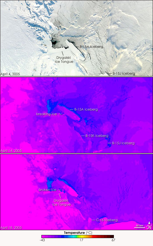 Satellite images of the B-15a Iceberg