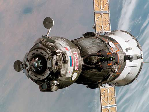 A Soyuz TMA spacecraft approaches the Station