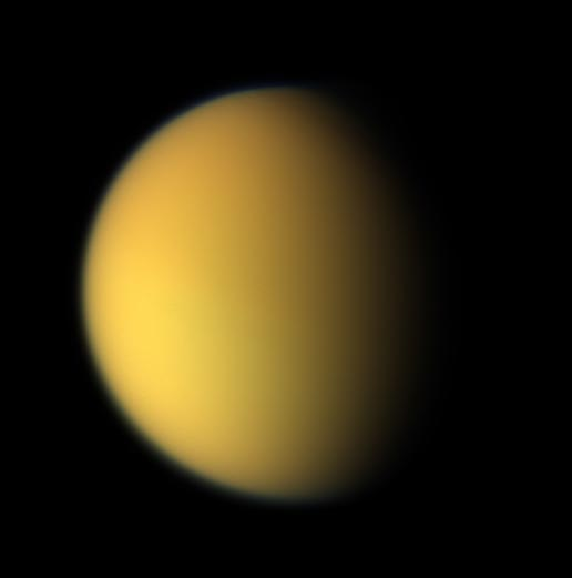 Titan appearing in natural color, looking orangish in color