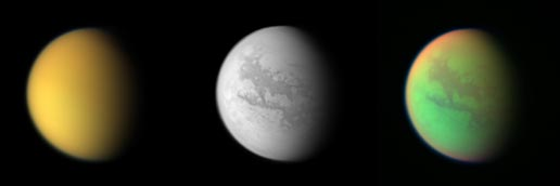 3 views of Titan, starting from left, natural color, near-infrared and false-color