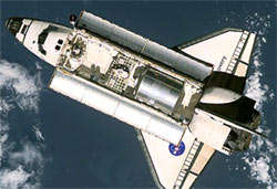 MPLM in Space Shuttle Discovery's payload bay