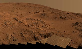 "Color panorama of Mars from Spirit at a position known informally as ""Larry's Lookout"" along the drive up ""Husband Hill"""