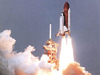 The Space Shuttle during liftoff