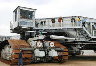 Close-up of Crawler-Transporter treads and cab