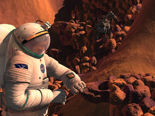 Artist's concept of astronaut gathering samples on Mars