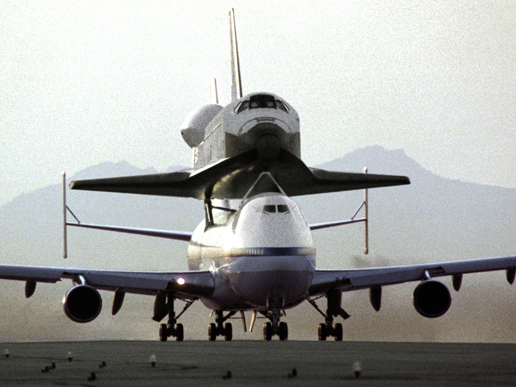 Endeavour sits atop a Shuttle Carrier Aircraft